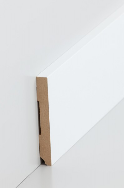 Südbrock Fußleiste 10 x 80 x 2500 mm, Oberkante rechteckig, MDF-Kern mit lackierfähiger Folie