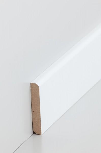 Südbrock Fußleiste 10 x 58 x 2500 mm, Oberkante abgerundet, MDF-Kern mit weißer, lackierfähiger Foli