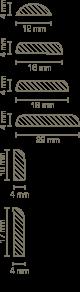 Südbrock Roh- und Deckleiste 4 X 22 X 2000 mm